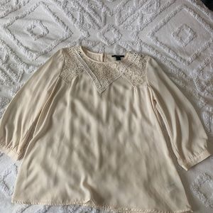 Cream Blouse with Collar Detailing